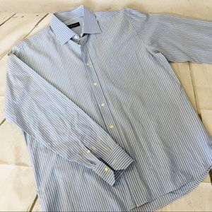Canali Italy Button Up Shirt Blue White Striped
